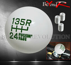 For Chevy M8 M10 M12 Adapter White Green Ball Style Round Shift Knob Weighted
