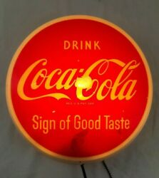 Very Rare Vintage Coca Cola 10' Button Lighted Sign By Dualite 1950s Minor Wear