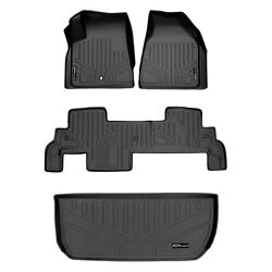 All Weather Floor Mats Set And Cargo Liner For Chevy Suv With Bench Seat Black