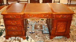 Stunning Leather Top Burled Walnut Partners Desk With File Drawer Mint
