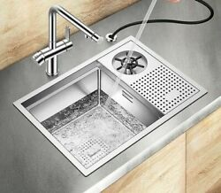 Stainless Steel Sink With Water Jet Dish Drainage Tray Brushed High Pressure Set