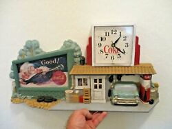 Vintage Coca Cola Filling Station Clock With '57 Chevy Gas Station Coke Wall Art