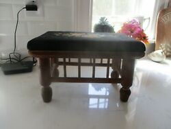 Antique Wood Foot Stool With Needlepoint Top.