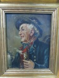Signed German Oil Painting Old Man With Beer Stein And Pipe Framed