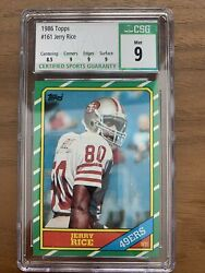 1986 Jerry Rice Topps 161 Rookie Card Csg 9 Mint Graded 49ers