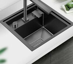 Metal Brushed Stainless Steel Kitchen Sink Square Black Modern Hidden Faucet New