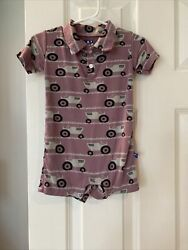 Kickee Pants Purple Tractor Romper Short Sleeve Collared Shorts 6-12 Months