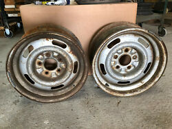 Pair Gm/chevrolet 15x7 Fw Code Old Style Rally Wheels Disc Brake