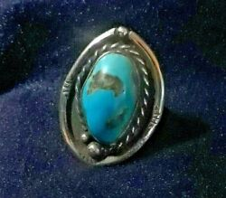 Antique Southwestern Sterling Torquoise Ring Size 11 Nice