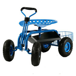 Sunnydaze Rolling Garden Cart W/ Extendable Steering Handle Seat And Tray - Blue