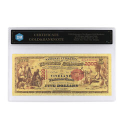 American Souvenir Gifts 1875 Year 5 Dollar 24k Gold Foil Gold Banknote In Coa
