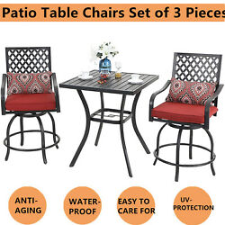Patio Table Chairs Set Garden Patio Bar Set Metal Swivel Bar Chairs And One Table