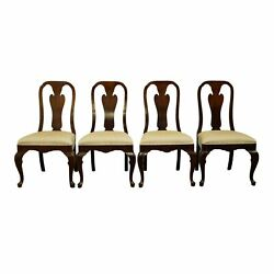 Set Of 4 Davis Cabinet Solid Cherry Traditional Queen Anne Style Dining Side ...