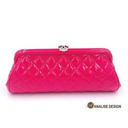 Authentic Classic Timeless Clutch Quilted Hot Pink Patent