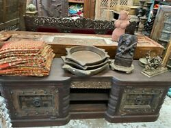 Vintage Rustic Media Sideboard Carved Wood Console Buffet Farmhouse Storage