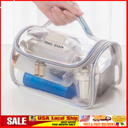 Large Clear Waterproof Travel Cosmetic Bag Toiletry Makeup Zipper Storage Pouch $9.11