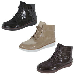 Fitflop Womens Gianini Lace Up Faux Pony Patent Moccasin Boots