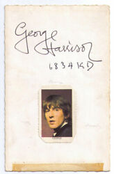 Beatles Promo Card Signed On The Reverse By George Harrison 1963 Great Autograph