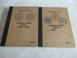 Library Of Coins Lincoln Cent Set2 Books 1909-1940 And 1941-1962d Almost Complete