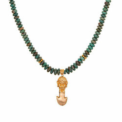 Vintage Aztec Necklace 18k Yellow Gold Turquoise Beads 18.5 Mayan Jewelry