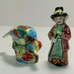 Vintage Colorful Peasant And Pheasant Salt And Pepper Shakers