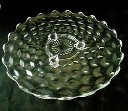 Vintage Fostoria American Clear Glass Round 12 3 Toed Cake Plate- Rays Center
