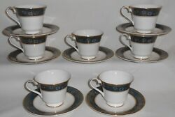 Set 7 Royal Doulton Carlyle Pattern Bone China Cups / Saucers England