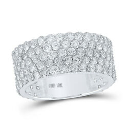 10kt White Gold Mens Round Diamond 5-row Pave Band Ring 5 Cttw