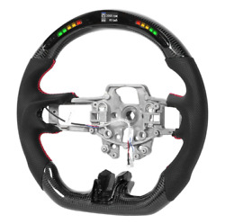 Real Carbon Fiber Flat Preforated Smart Led Steering Wheel For Ford Mustang Gt