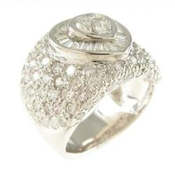 Authentic K18 White Gold Heart Pave Diamond Ring 260-004-056-1707