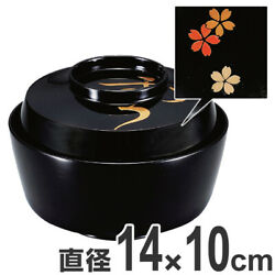 Bowl Of Simmered Dishes Made Wood 4.5 Sun Snow Moon Flower Black Lacquering Soup