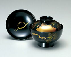 Made Of Wood Echigo Lacquerware Soup Bowl Guests Colored Paper Old Pine