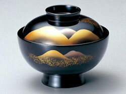 Made Of Wood Echigo Lacquerware Soup Bowl Guests Toyama Lacquered Black