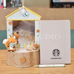 New Starbucks 2021 China Autumn Forest Notebook And Mirror Display Toy Set