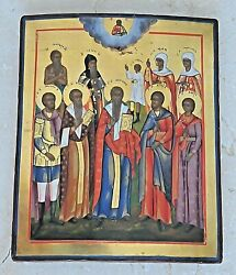 Russian Imperial Orthodox Religious Icon 10 Saints Michael Egg Oil Paint Cross