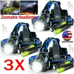 350000lm Led Zoom Headlamp Usb Rechargeable Headlight Head Torch Batteries Us