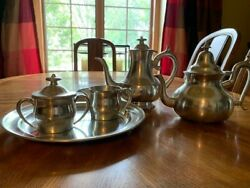 Woodbury Pewter Coffee And Tea Serving Set W/ Tray Satin Finish - 5 Pieces Total