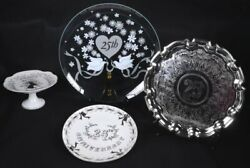 4 Vintage 25th Anniversary Silverplate And Porcelain Compote Plate Platter 13.5