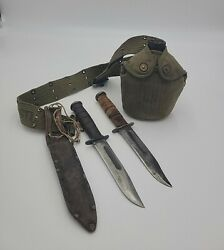 Wwii Kabar Usmc Usn Mk2 Set Of 2 Knives And Vollrath Canteen 1944 W/ Belt Holster