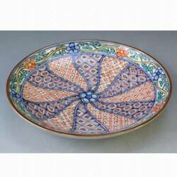 Kyoyaki Kiyomizu Ware Porcelain Four-sun Dish Colored Twisted Old Crest In Paper
