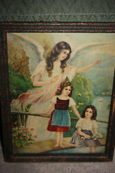 Antique 1890and039s Religious Angel / Children Lithograph Wood Framed German Print