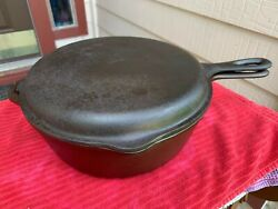 Vintage Lodge 8 Fs Cast Iron Four In One Skillet Double Cooker Flat No Wobble
