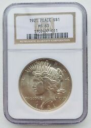 1921 Peace Dollar High Relief Key Date Ngc Ms63