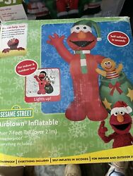 New 2005 Gemmy Over 7' Elmo Sesame Stree Lighted Christmas Inflatable Airblown