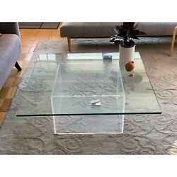 Vintage Glass And Lucite Base Square Coffee Table With Beveled Edges