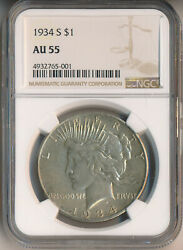 1934-s Peace Silver Dollar Ngc Certified Au 55 Free Shipping