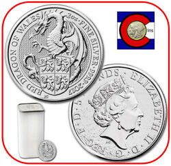 2017 Queen's Beast Red Dragon Of Wales 2 Oz Silver Uk -- Tube/roll Of 10 Coins
