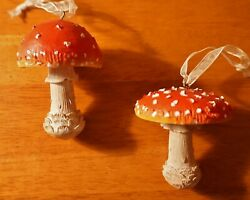 Set Of 2 Red And White Gnome Dome Mushroom Christmas Ornaments Country Lodge Decor