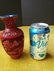 Chinese Collectible Carved Cinnabar Vase Brass Rims 6 Tall Nice Condition