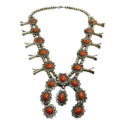 Navajo Vintage Silver And Coral Southwest Squash Blossom Necklace 24